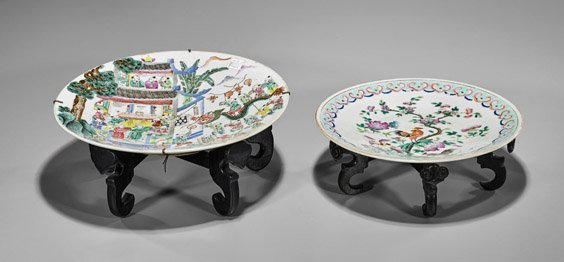 Pair Antique Chinese Famille Rose Plates - 2