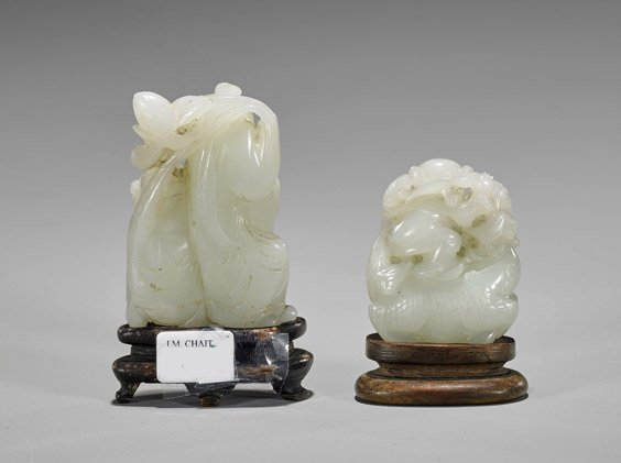 Two Antique Carved Celadon Jade Toggles - 2