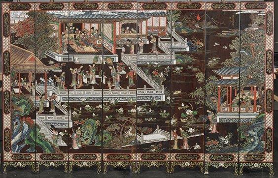Small Antique Chinese 8-Panel Coromandel Screen