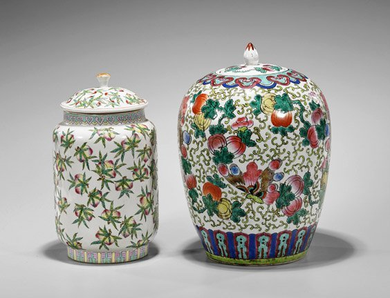 Two Old Chinese Famille Rose Vases