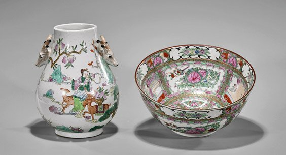 Two Chinese Porcelains: Bowl & Vase