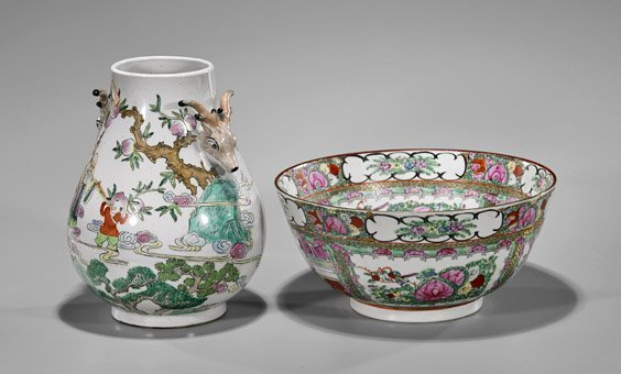 Two Chinese Porcelains: Bowl & Vase - 2