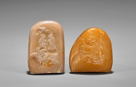 Two Chinese Shoushan Stone Pebbles: Figures