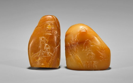 Two Chinese Shoushan Stone Pebbles: Scholars