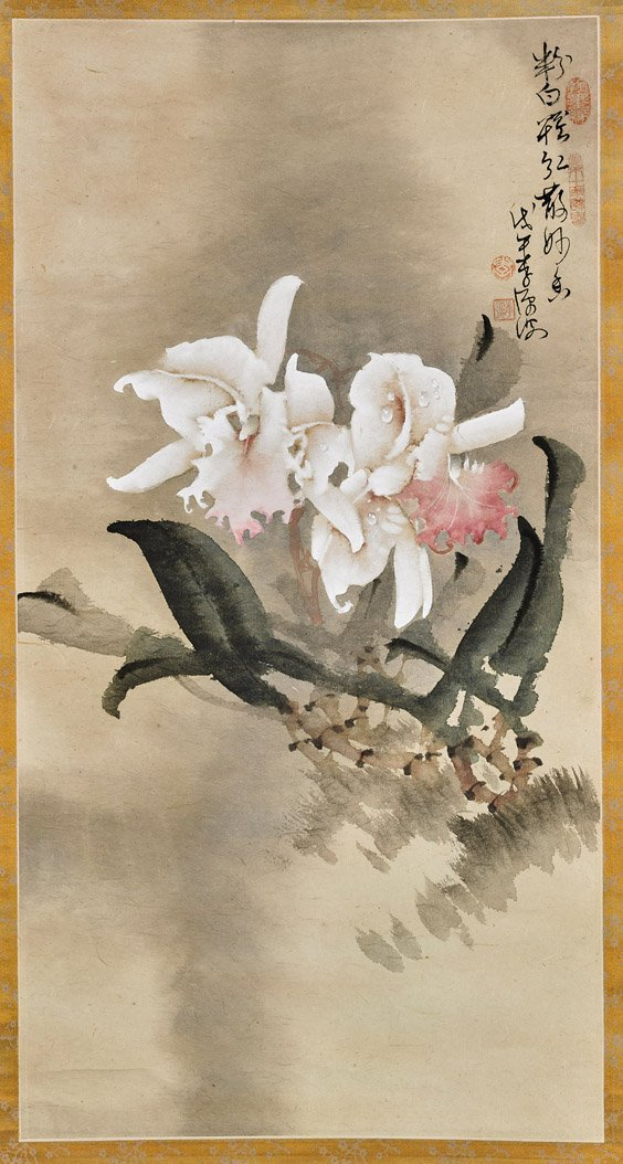 Two Chinese Paper Scrolls: Rooster & Flower
