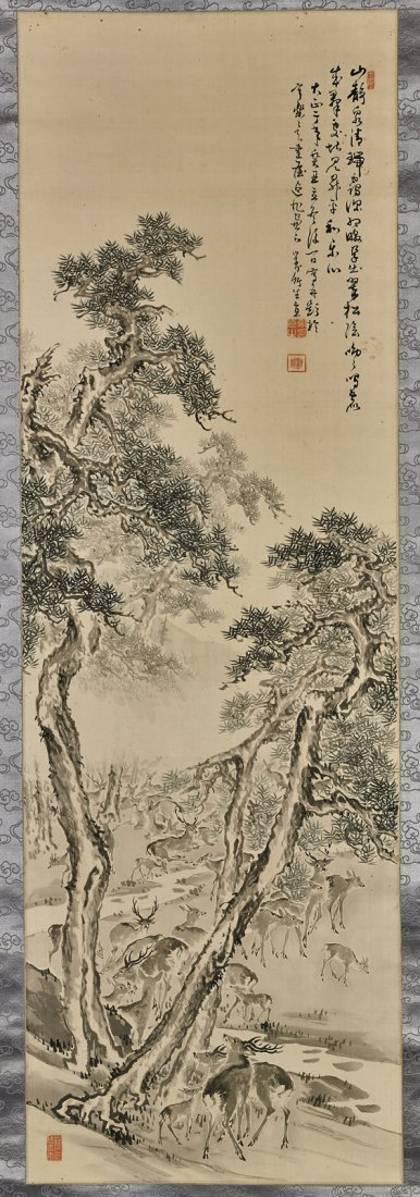 Two Chinese Silk Scrolls: Deer & Mountain
