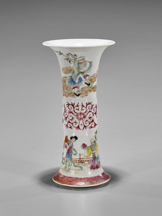 Antique Qianlong-Style Famille Rose Beaker Vase