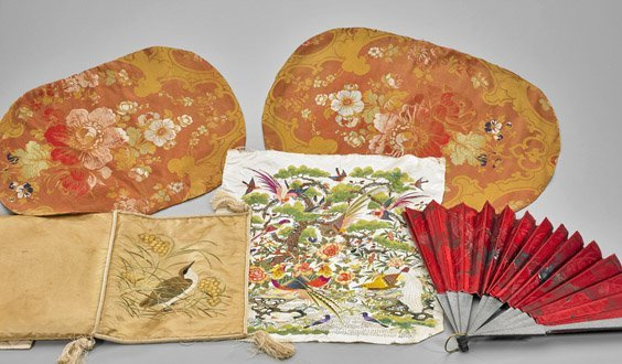 Five Old & Antique Chinese Silk Embroidered Items