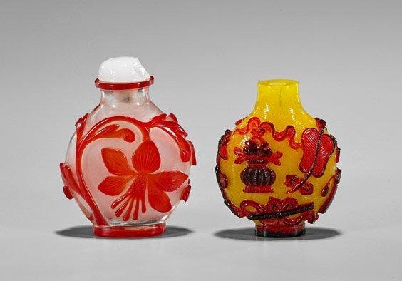 Two Beijing Glass Overlay Snuff Bottles - 2