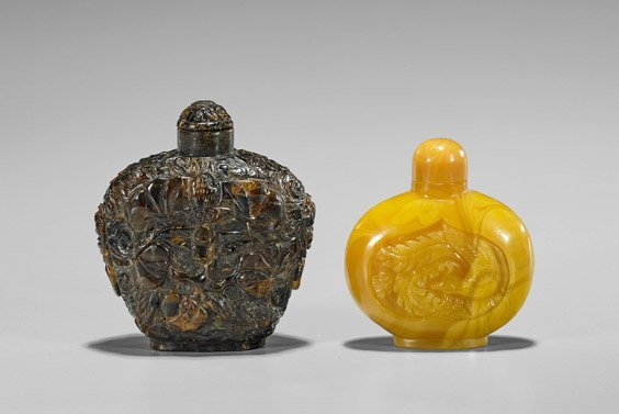 Two Carved Amber-Like Snuff Bottles - 2