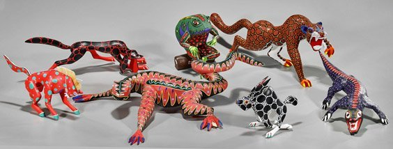 Seven Various Oaxacan Carved Wood Animals