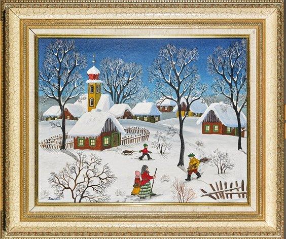 Oil on Canvas: Snowy Village