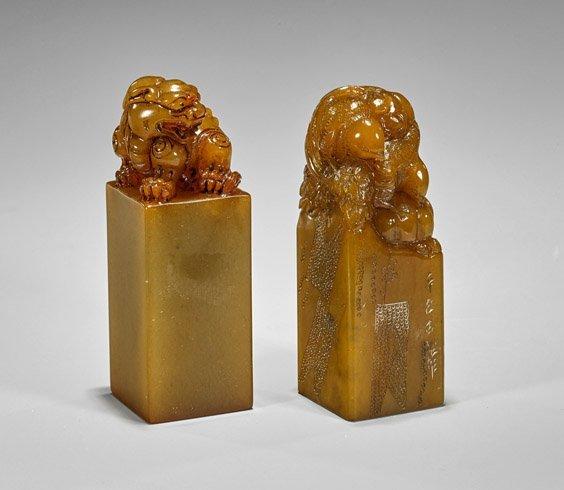 Two Large Chinese Shoushan Stone Seals
