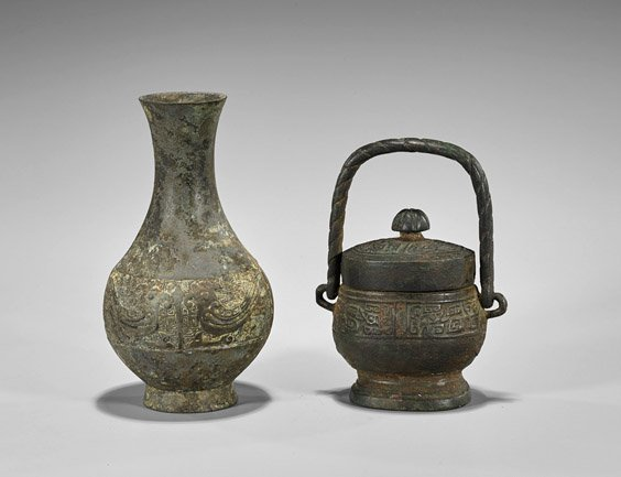 Two Antique Chinese Archaistic Bronze Vessels