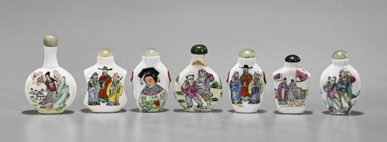 Seven Enameled Porcelain Snuff Bottles
