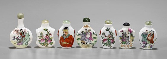 Seven Enameled Porcelain Snuff Bottles - 2