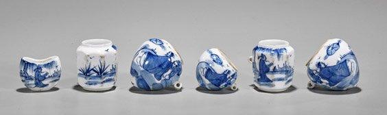 Six Kangxi-Style Blue & White Bird Feeders
