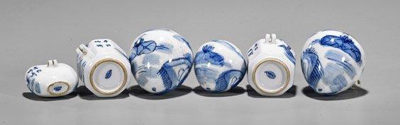 Six Kangxi-Style Blue & White Bird Feeders - 3