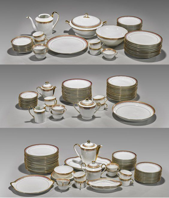 Set of 138 Giraud Limoges Formal Dinner & Beverage