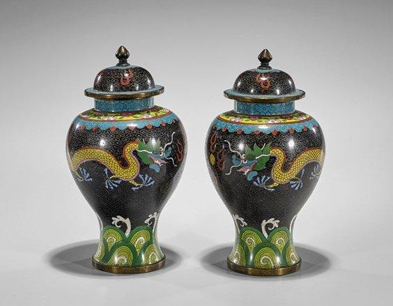 Pair Antique Chinese Cloisonné Enamel Vases