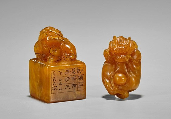 Two Chinese Carved Shoushan Stones: Toggle & Seal