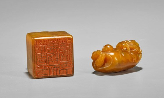 Two Chinese Carved Shoushan Stones: Toggle & Seal - 2