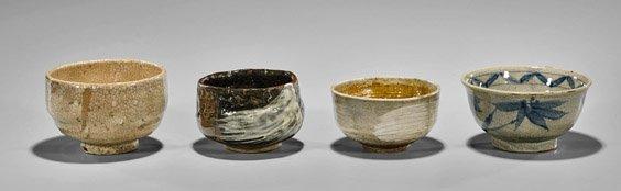 Four Antique Japanese Glazed Chawan Tea Bowls