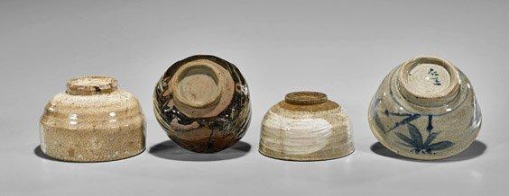 Four Antique Japanese Glazed Chawan Tea Bowls - 2