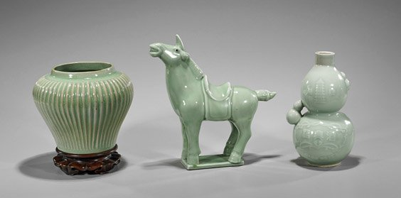 Three Chinese Celadon Glazed Items