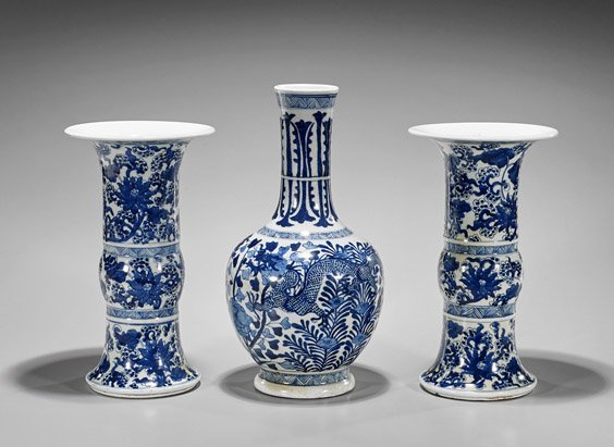 Three Kangxi-Style Blue & White Porcelain Vases