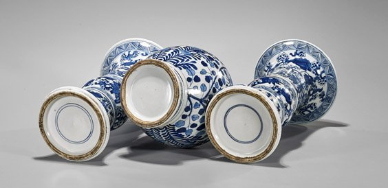 Three Kangxi-Style Blue & White Porcelain Vases - 2