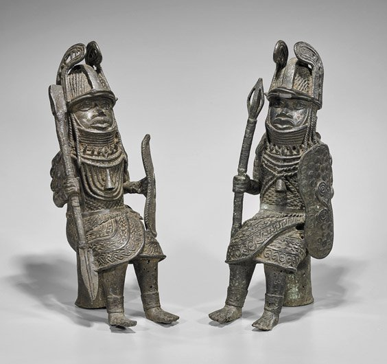 Pair Heavy Benin-Style Bronze Seated Soldiers
