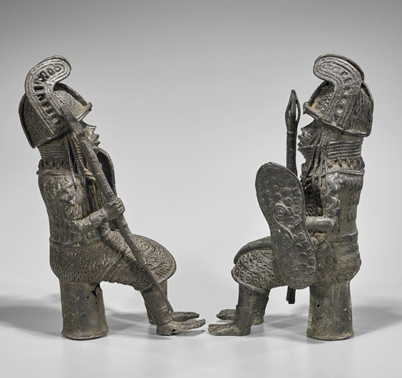 Pair Heavy Benin-Style Bronze Seated Soldiers - 2