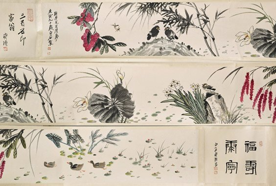Two Chinese Paper Scrolls: Pond & Mountains