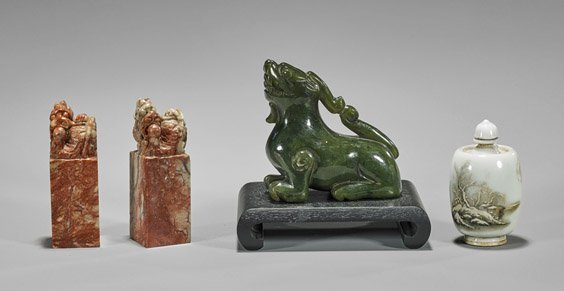 Four Chinese Items: Seal, Carving & Snuff Bottle