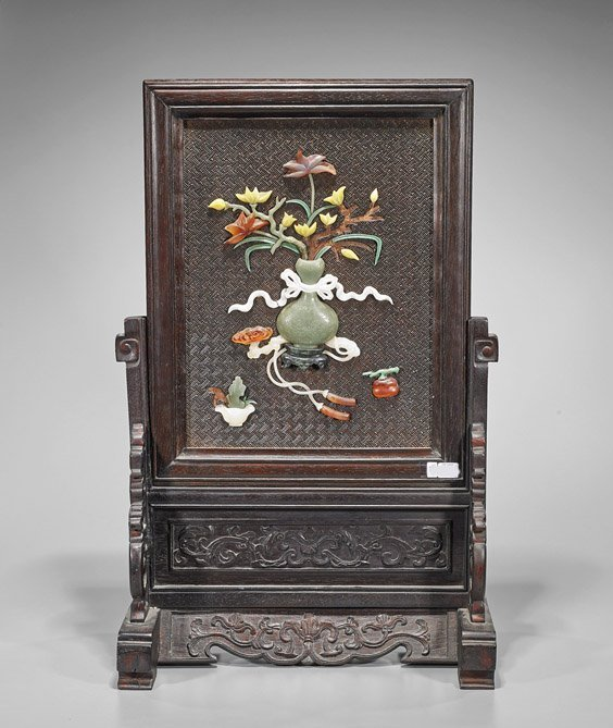 Chinese Jade, Hardstone & Wood Tablescreen