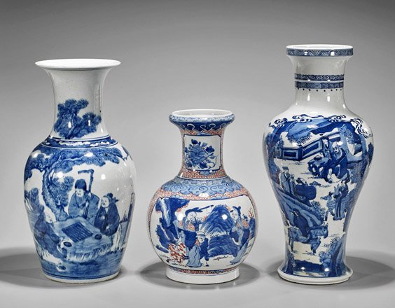 Three Kangxi-Style Porcelain Vases