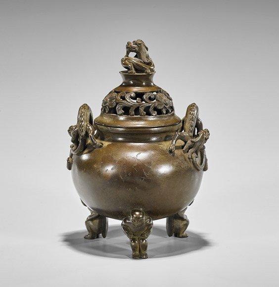 Ming-Style Bronze Tripod Censer & Cover