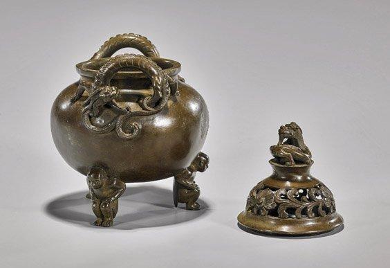 Ming-Style Bronze Tripod Censer & Cover - 2