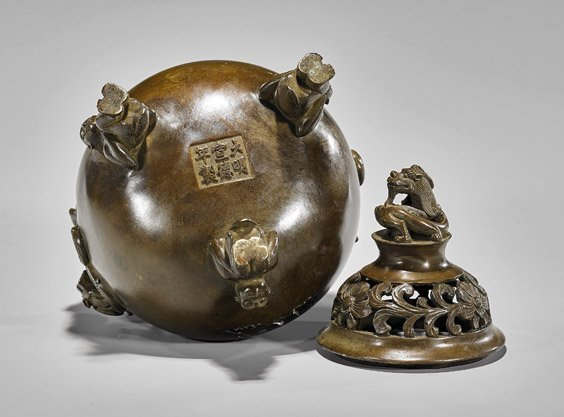Ming-Style Bronze Tripod Censer & Cover - 3