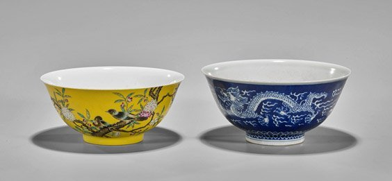 Two Chinese Porcelain Bowls: Dragons & Birds