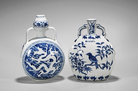 Two Ming-Style Blue & White Moonflasks