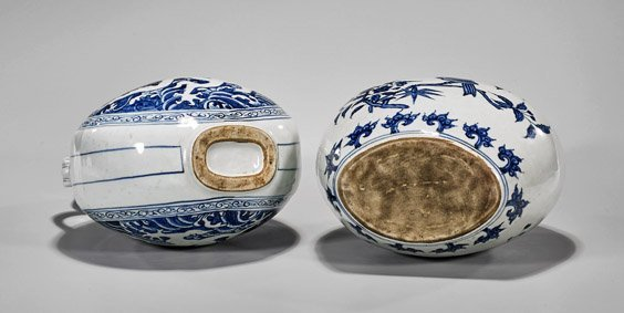 Two Ming-Style Blue & White Moonflasks - 2