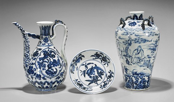 Three Ming-Style Porcelains: Vase, Ewer & Plate