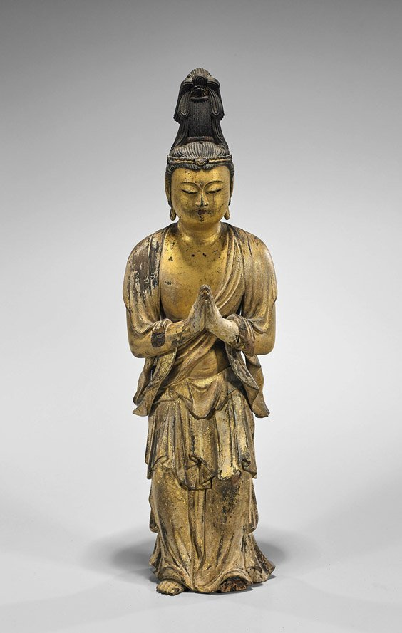 Tall Antique Japanese Gilt Lacquer Standing Bodhisattva