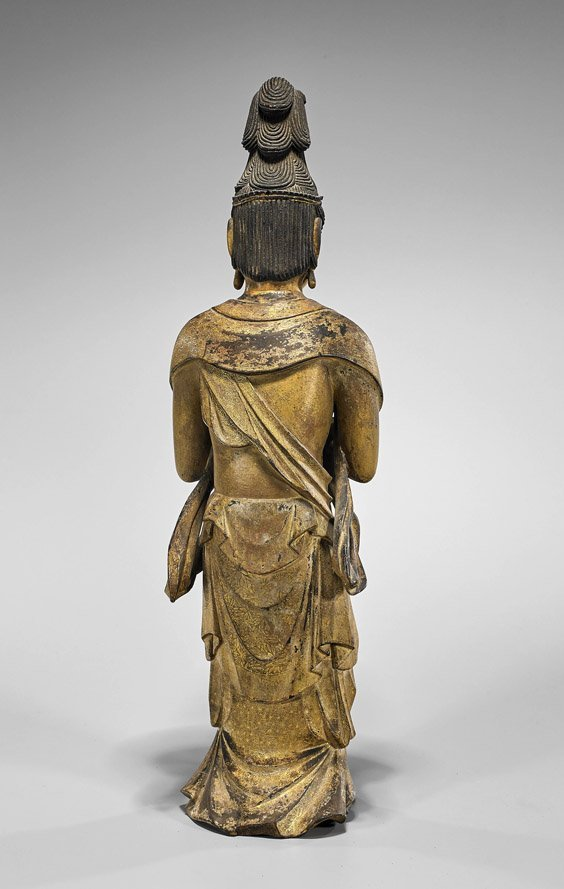 Tall Antique Japanese Gilt Lacquer Standing Bodhisattva - 2