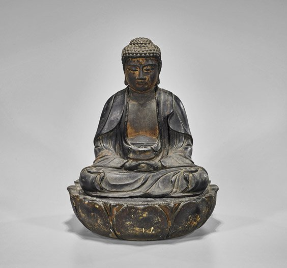 Antique Japanese Lacquered Seated Buddha