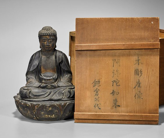 Antique Japanese Lacquered Seated Buddha - 2