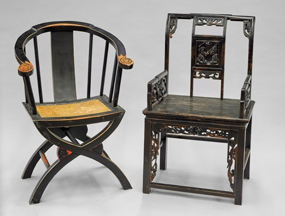 Two Chinese Carved Wood Armchairs