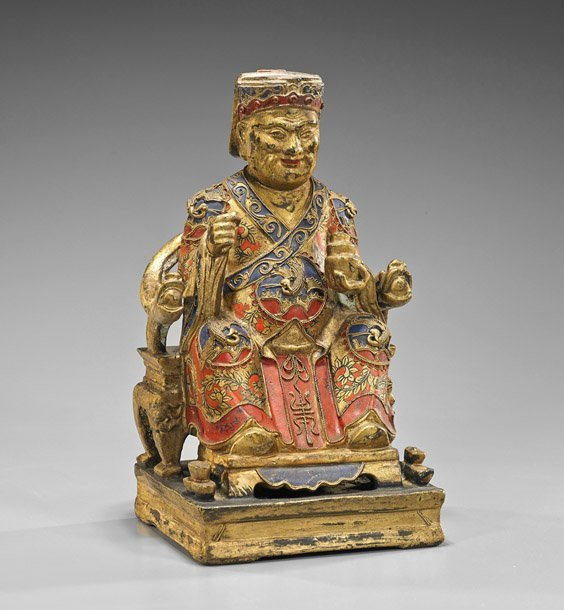 Antique Chinese Polychromed & Gilt Wood Figure